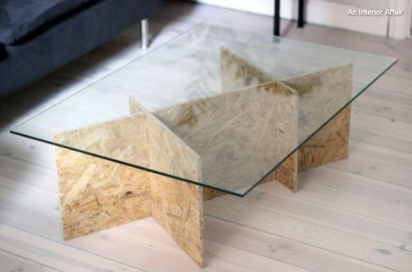 Diy Une Table Basse En Osb A Fabriquer Soi Meme Table Basse Design Table Basse Table Basse Verre Et Bois