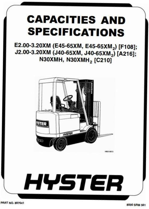 hyster electric forklift truck type c210 n30xmh2 sn from c210v 1616 rh pinterest com hyster 50 electric forklift manual hyster electric forklift service manual
