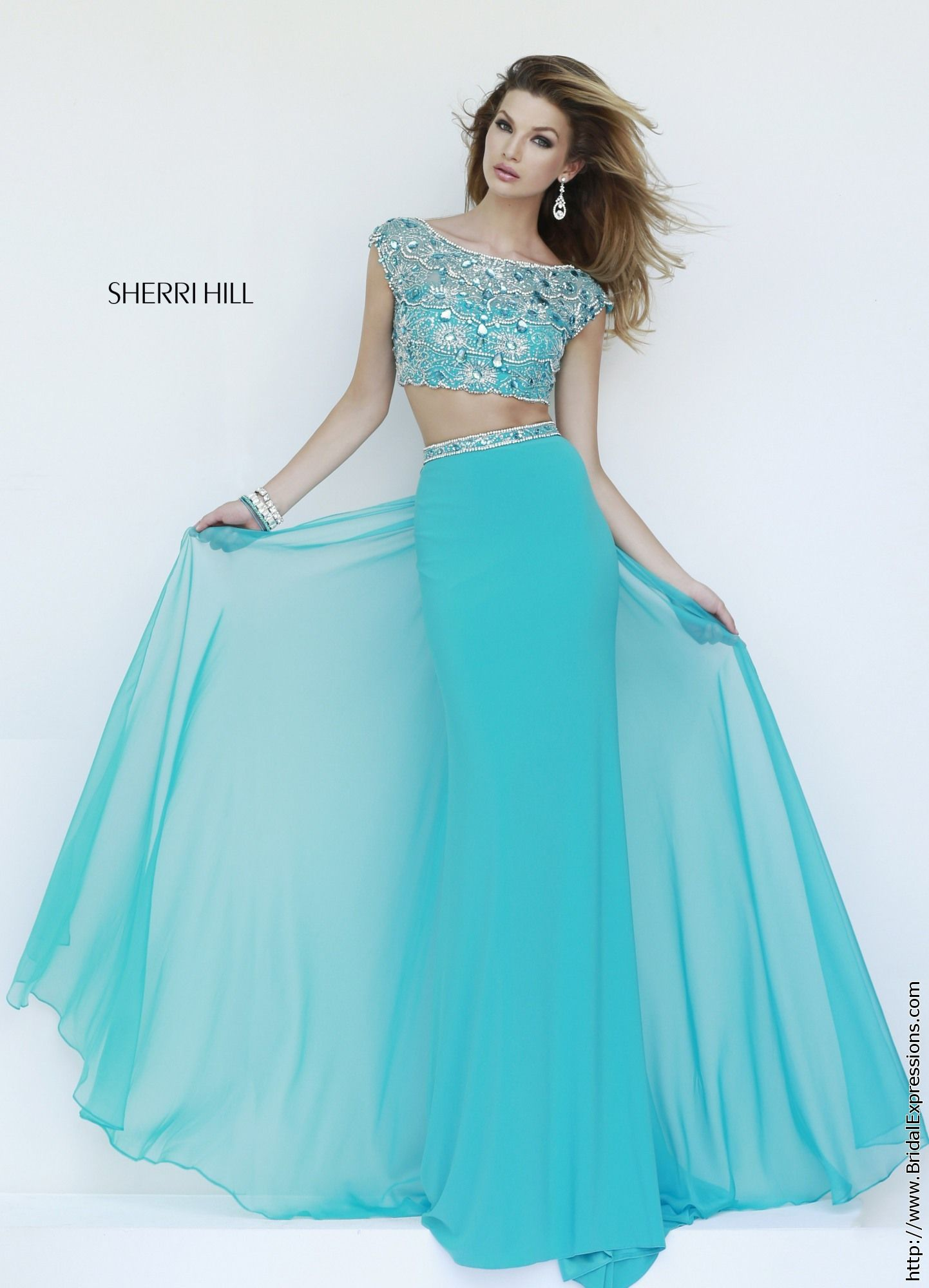 Sherri Hill 11197 Crop Top Jersey Prom Dress. Wear w/sari | M W ...
