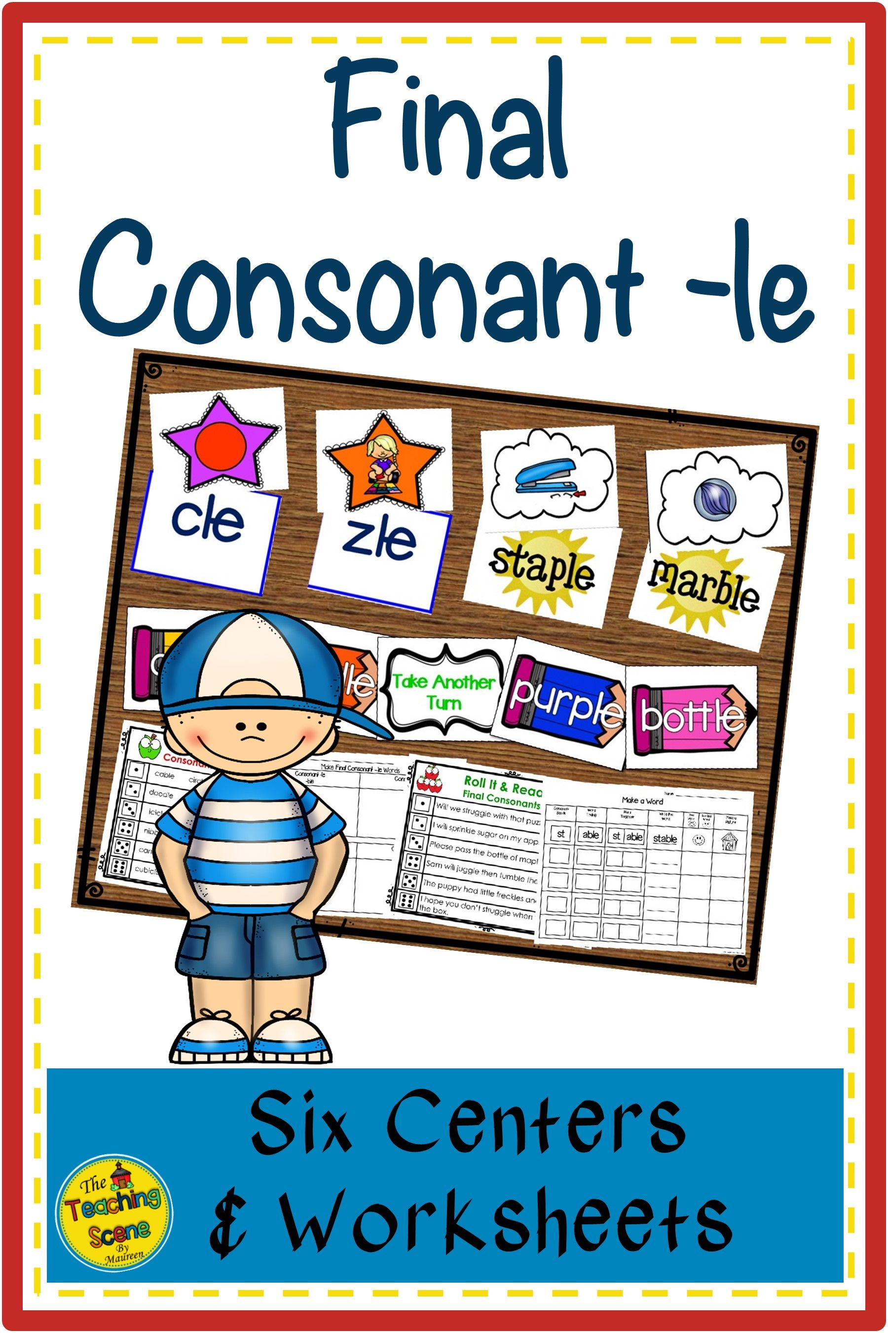 Final Consonants Le Centers Activities Amp Worksheets In