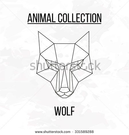 Geometric animal wolf head background