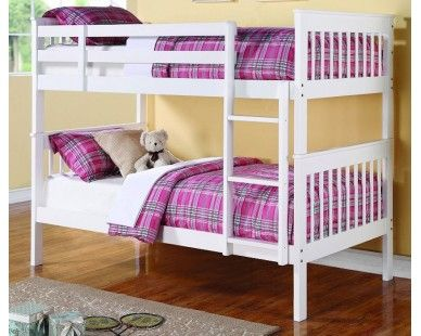Twin Bunk Bed In White Sam Levitz Furniture For The Home