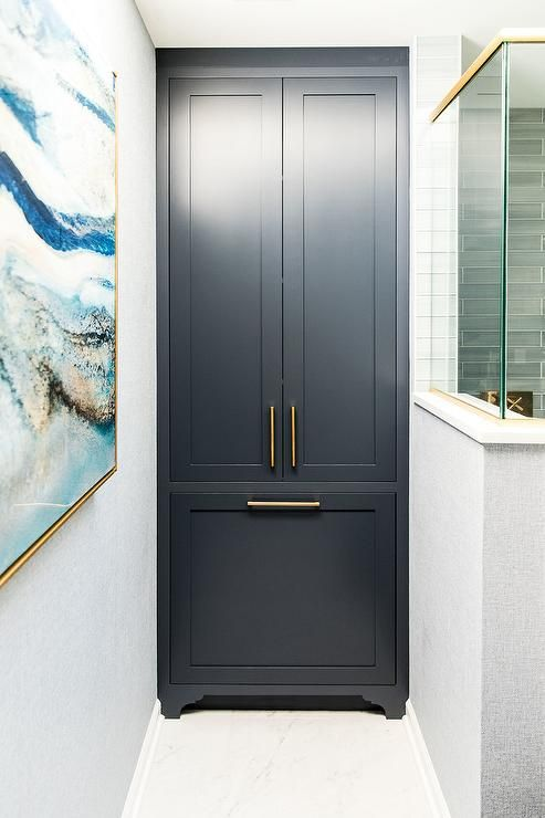 Best Floor To Ceiling Dark Blue Linen Cabinets With Brass Pulls 400 x 300