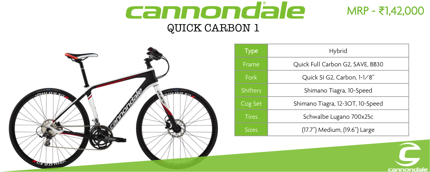 57d1ddfb665 The Cannondale Quick Carbon 1 Bike blends the feather light performance of  an all-carbon