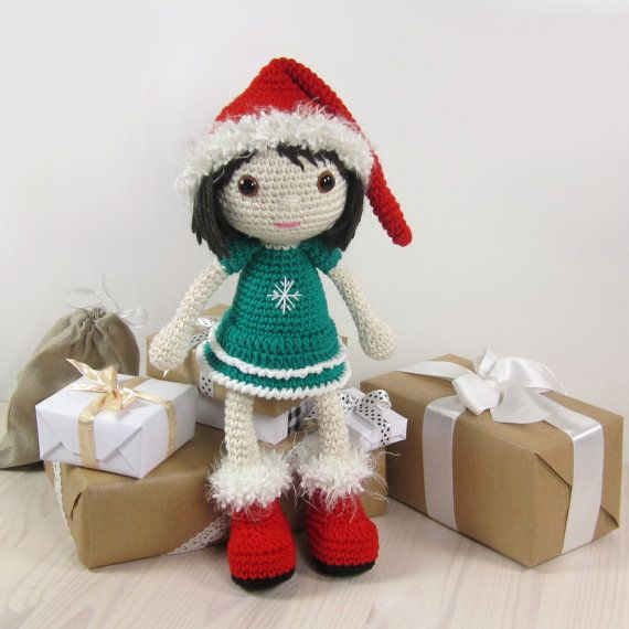 This written crochet pattern includes all the instructions needed to make your own little Christmas doll.    Includes one PDF file, 18 pages.  Pattern is written in English, using US crochet terminology. I tried to keep beginner crocheters in mind and included detailed instructions, many step-by-step photos and useful tips and tricks.    SIZE  30 cm (12) tall, with DK weight cotton-bamboo blend and a 2,50 mm crochet hook (US size 2/C).    DIFFICULTY  3. Intermediate – includes more…