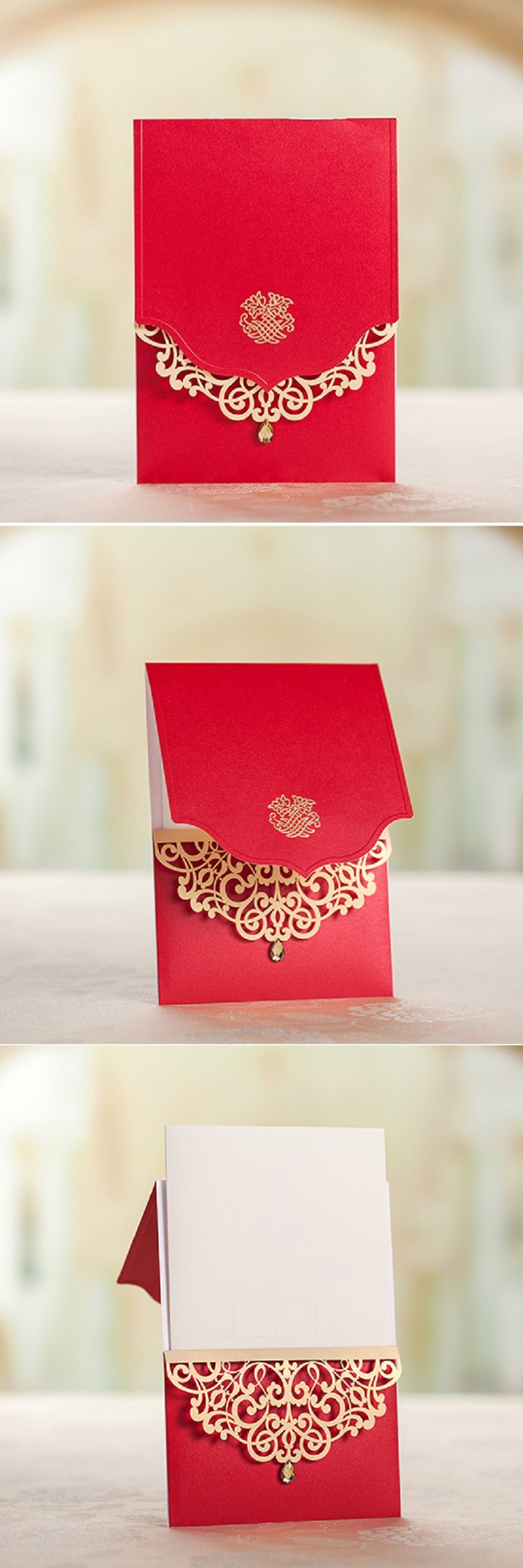 Chinese Style Luxury Wedding invitations Elegant Laser cut ...