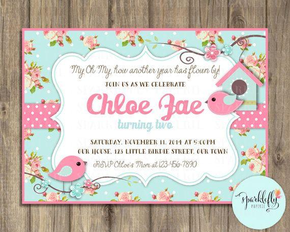 cottage chic baby shower invitation victorian floral pink and blue, Baby shower invitations