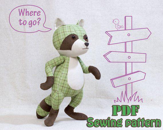 Stuffed Racoon Pattern Tutorial Pdf Sewing Pattern Stuffed