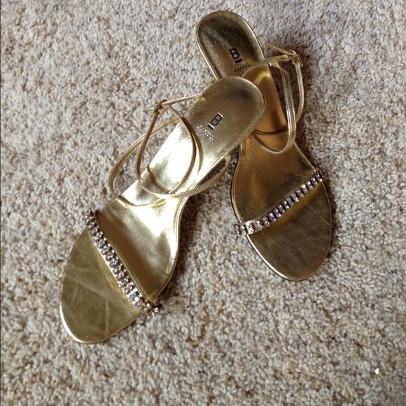 Gold Rhinestone Heels Gold 3-3 1/2 inch Strapped heels with beautiful rhinestone accent.. Worn once for a wedding. Bakers Shoes Heels