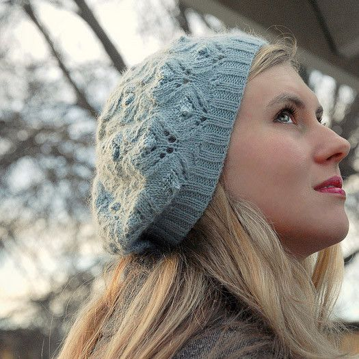 Cloudy Day - Lace and Bobble Beret - Tangled Yarn UK | knit lace ...
