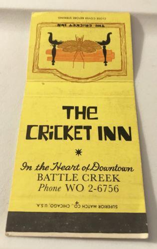Old Matchbook Cover The Cricket Inn Battle Creek Battle Creek Matchbook Creek