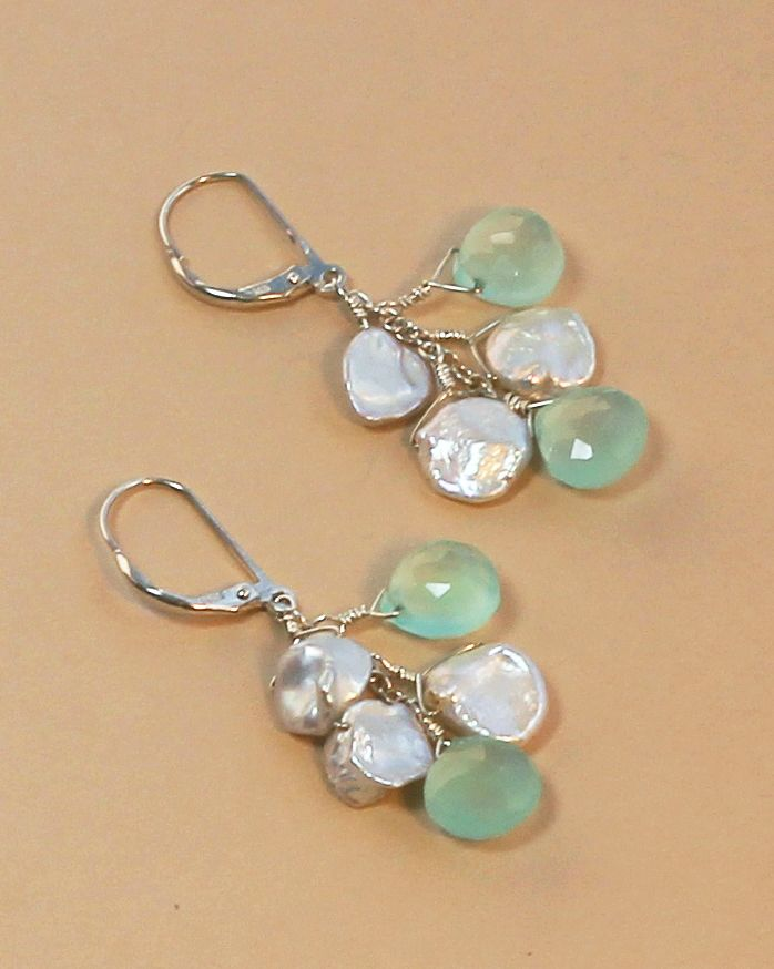 Blue Chalcedony Sea Spray Earrings