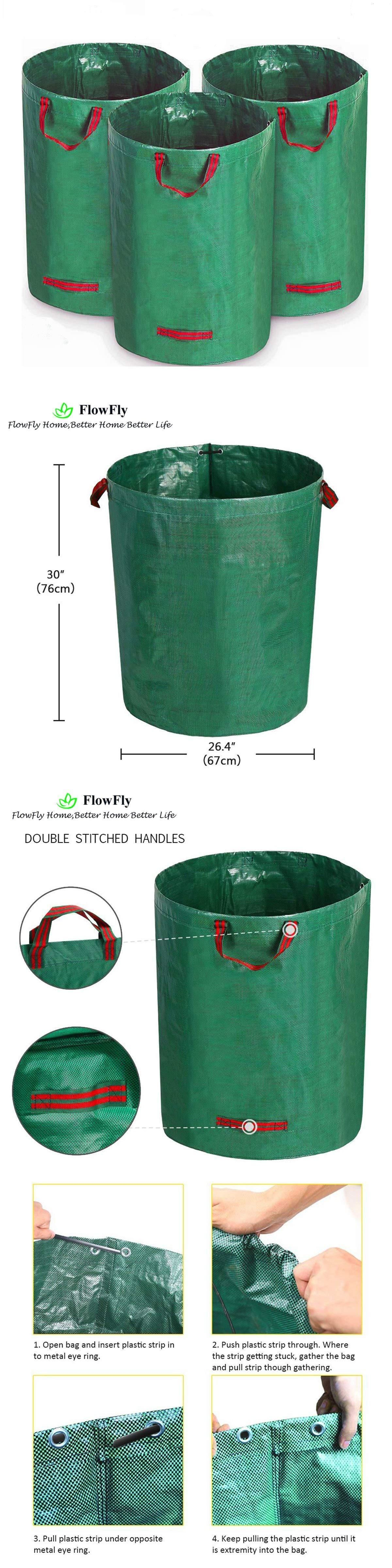 Garden Waste Bags 181024 Garden Waste Bag Patio Yard Lawn Leaf Container Collapsible 3 Pack 72 Gallons Buy It Now Only Garden Waste Bags Garden Tools Garden Bags