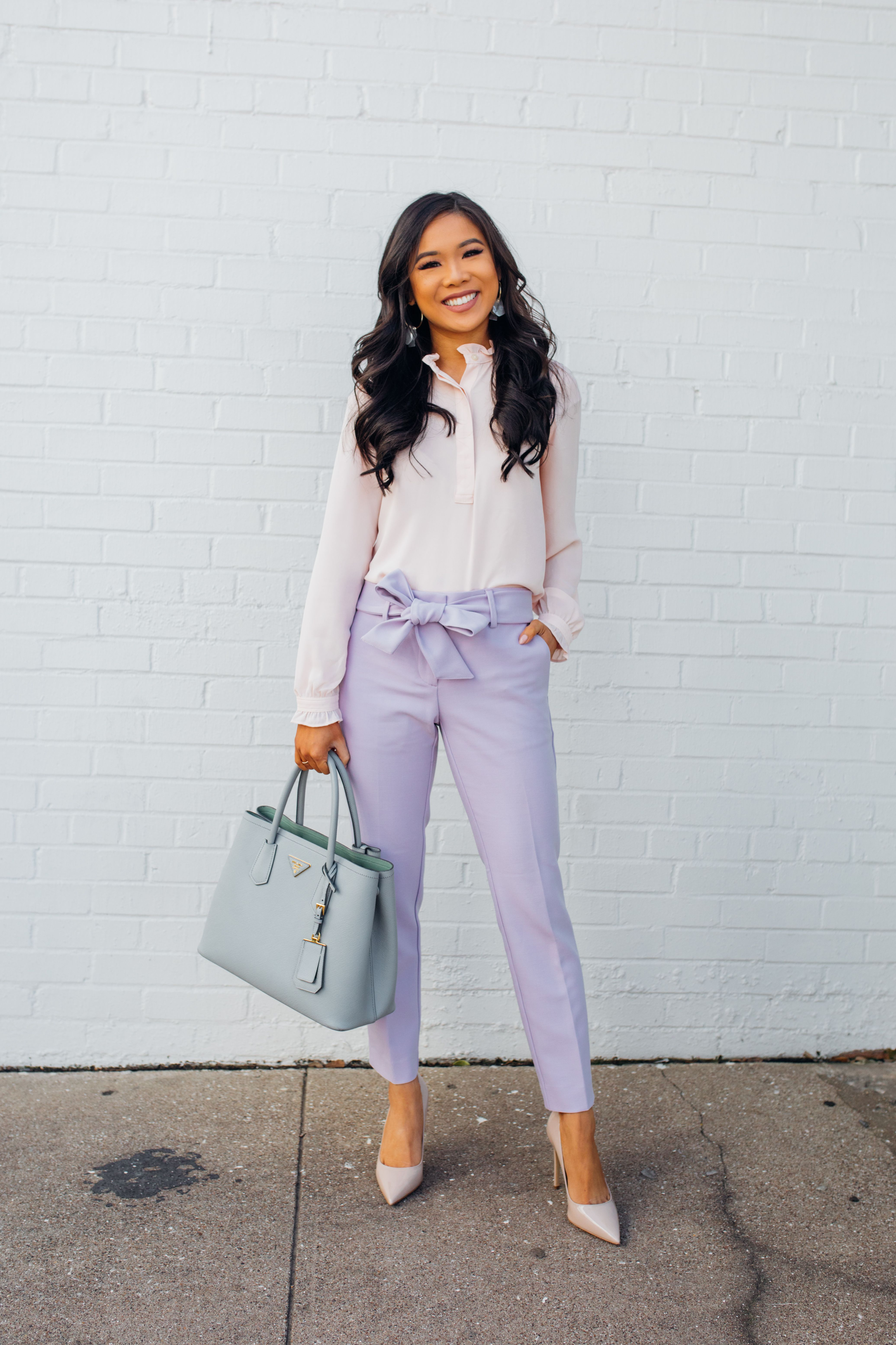 8c5fa7f3b Blogger Hoang-Kim wears a pair of lavender tie-waist pants for spring    pastel outfit pastel outfits aesthetic pastel outfit spring pastel outfits  ...