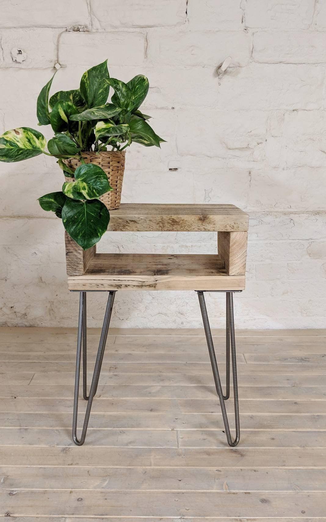 Retro Reclaimed Wood Bedside Table Noa Natural Wood Finish Plant