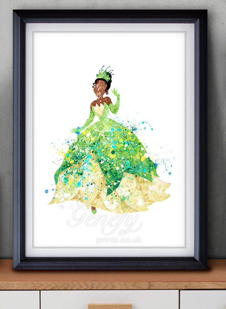 Disney tiana the princess and the frog watercolor painting
