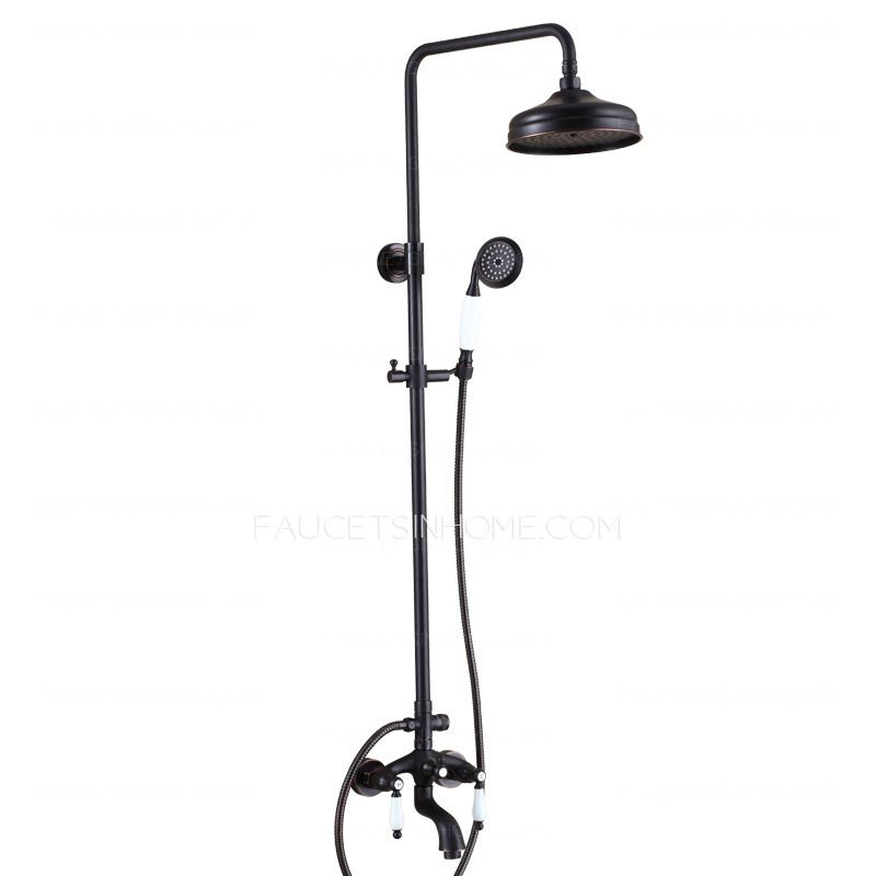 Antique Oil Rubbed Bronze Black Two Handle Outdoor Shower Faucets ...