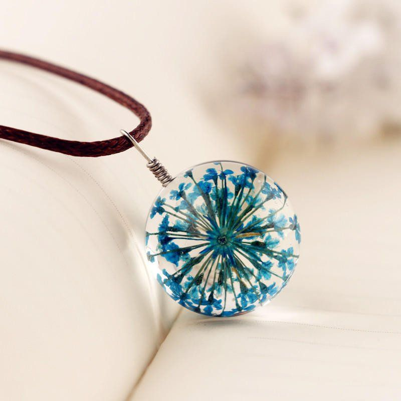 Manual Dandelion Clovers Lace Dried Flower Glass Ball Time Gem Clavicle Pendant Necklace Flower Resin Jewelry Pendant Resin Jewelry