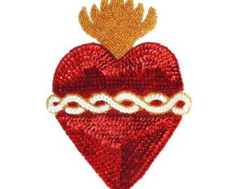 Amazing red sacred heart mexican sequin beads applique patch