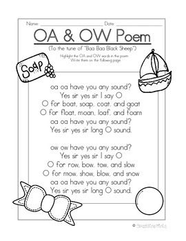 ow and oa poem song 2nd grade phonics board games teaching vowels first grade phonics. Black Bedroom Furniture Sets. Home Design Ideas