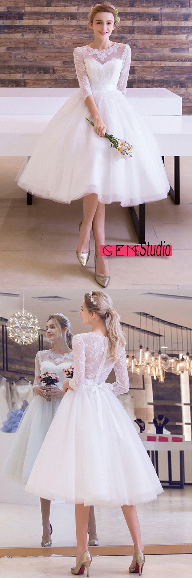 Vintage tealength wedding dress aline scoop neck tulle with