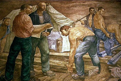 """The lobby of the post office in Chillicothe, Illinois at 114 N. Second Street has on display an egg tempera on gesso mural by Arthur Lidov entitled """"Railroading"""". It was done in 1942 and is still extant."""