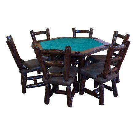 Furniture Barn USA™ Red Cedar Log Hexagon Game Table and 6 Chair Set