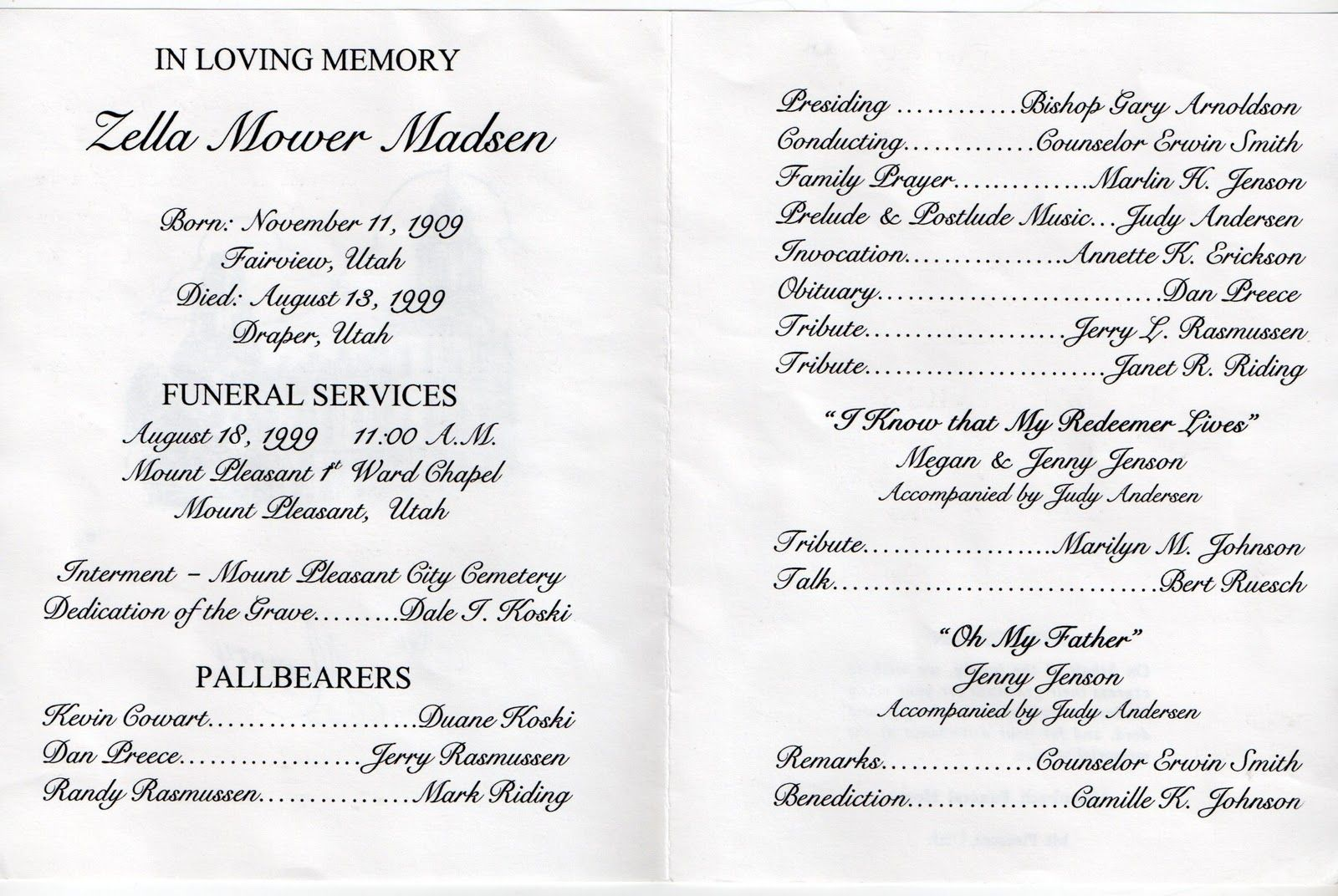 Mt Pleasant Obituary Page Zella Mower Madsen Funeral Program
