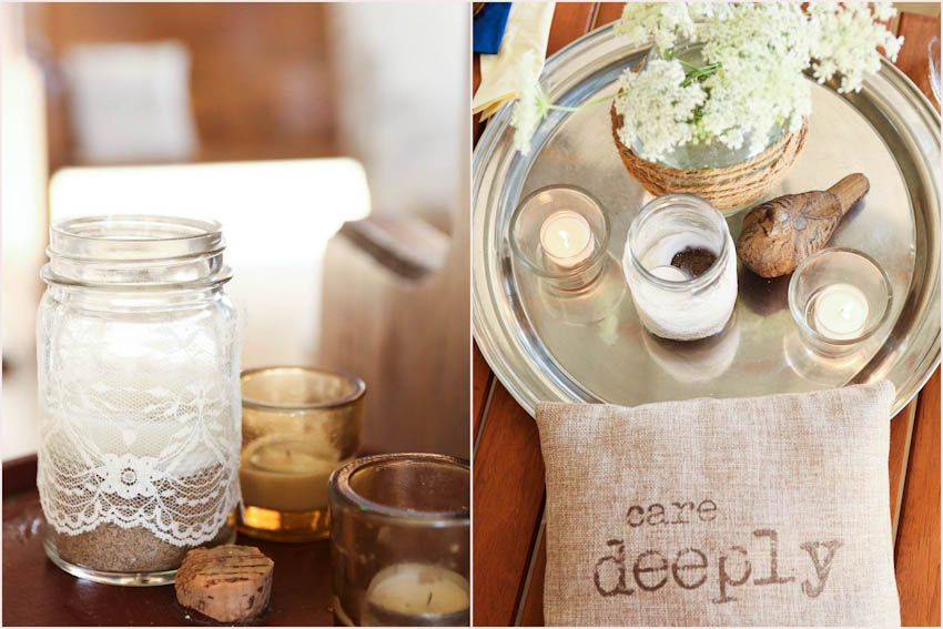 Lace wrapped mason jars with sand