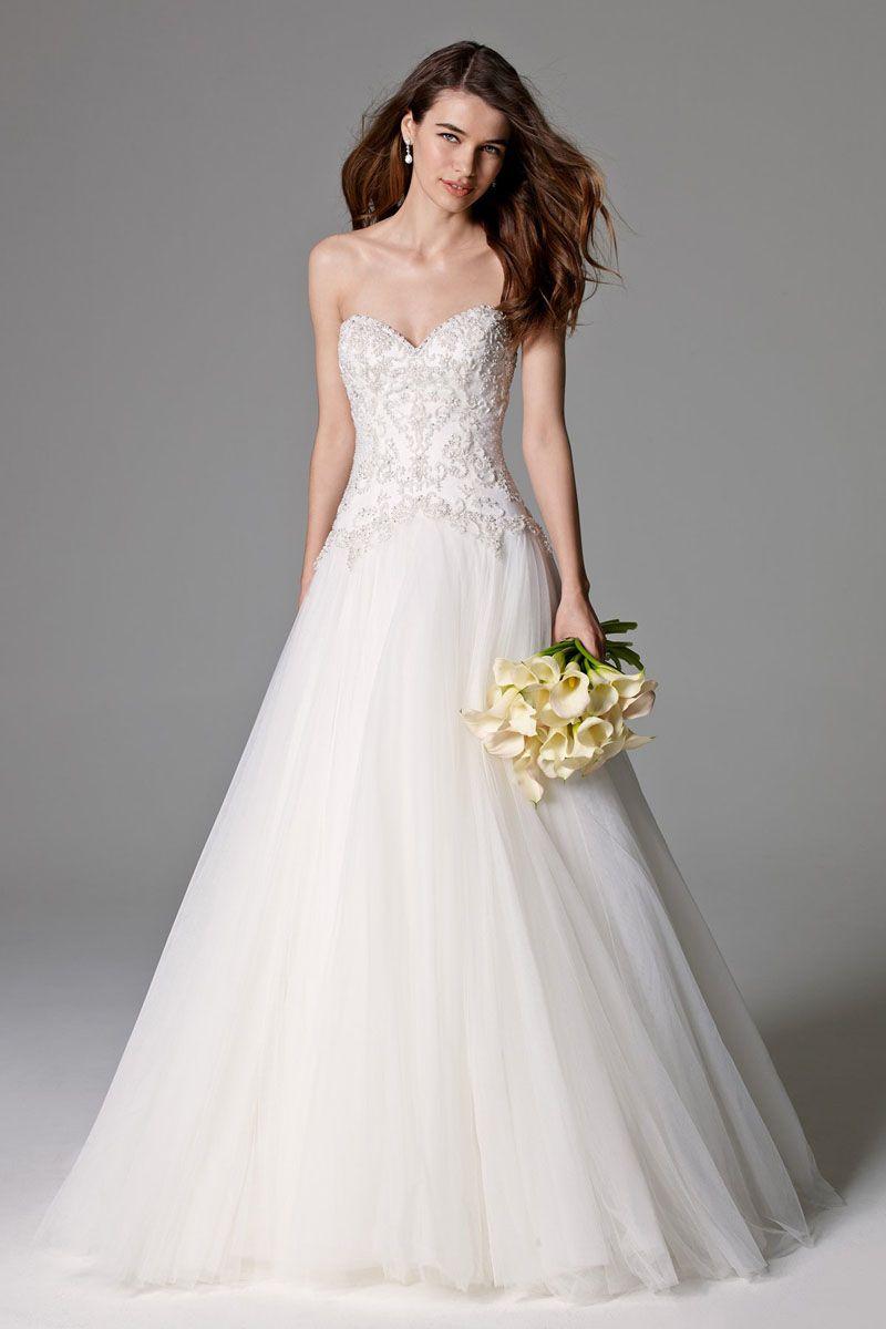 Strapless Sweetheart Beaded Drop Waist Tulle Wedding Gown | Wedding ...