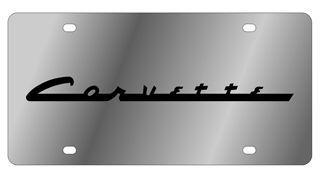 Chevrolet Corvette C3 Logo On Carbon Stainless Steel License Plate