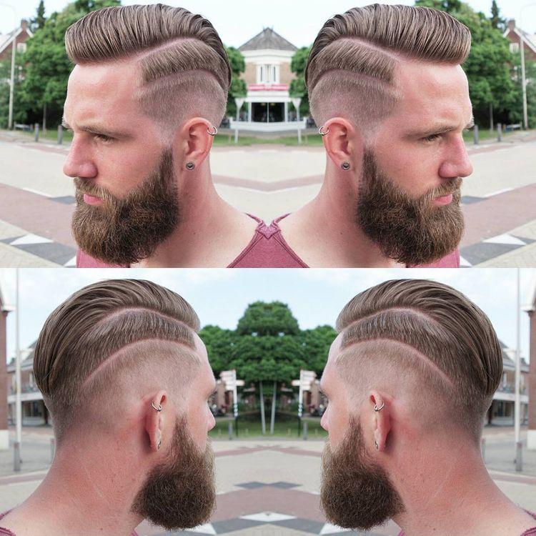 Irokesenschnitt Mit Ubergang Nach Hinten Gelen Bart Frisuren