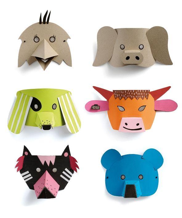 Mascaras De Animales De Carton Obra Teatral Colegio Mascara De