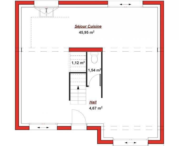 Cette maison en L possède une petite façade qui vous permettra de l - plan salon cuisine sejour salle manger