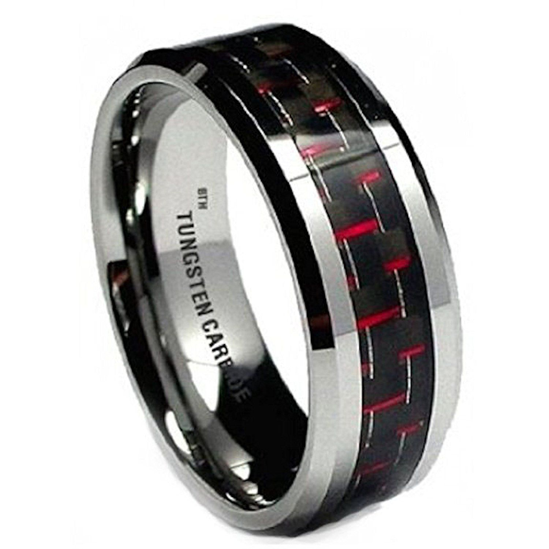 Tungsten 8MM Men's Red/Black Carbon Fiber Inaly Tungsten