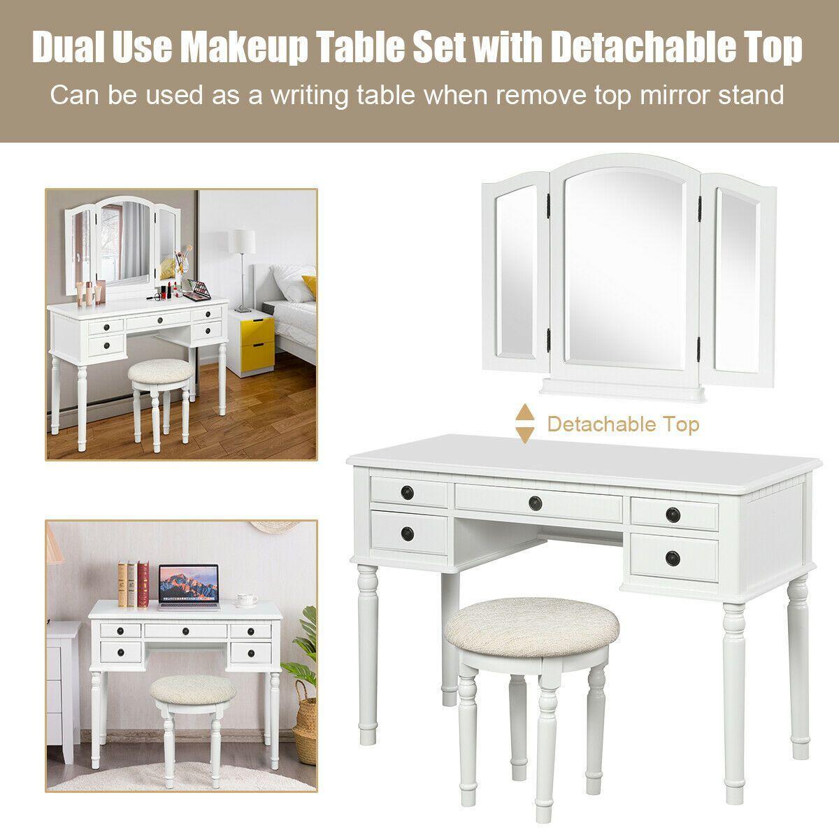 Tri Fold Mirror Table Stool Wooden Vanity Make Up Dressing Set