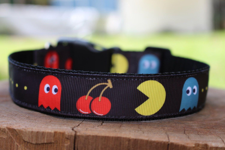 Pac Man Dog Collar // Australian Made // High Quality, Handmade by PooochEmporium on Etsy https://www.etsy.com/listing/286794475/pac-man-dog-collar-australian-made-high