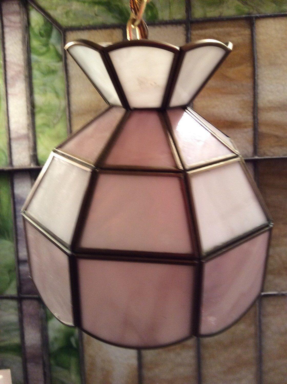 Vintage Stained Glass Hanging Lamp, Vintage Swag Lamp, Slag Glass, Pendant  Light,