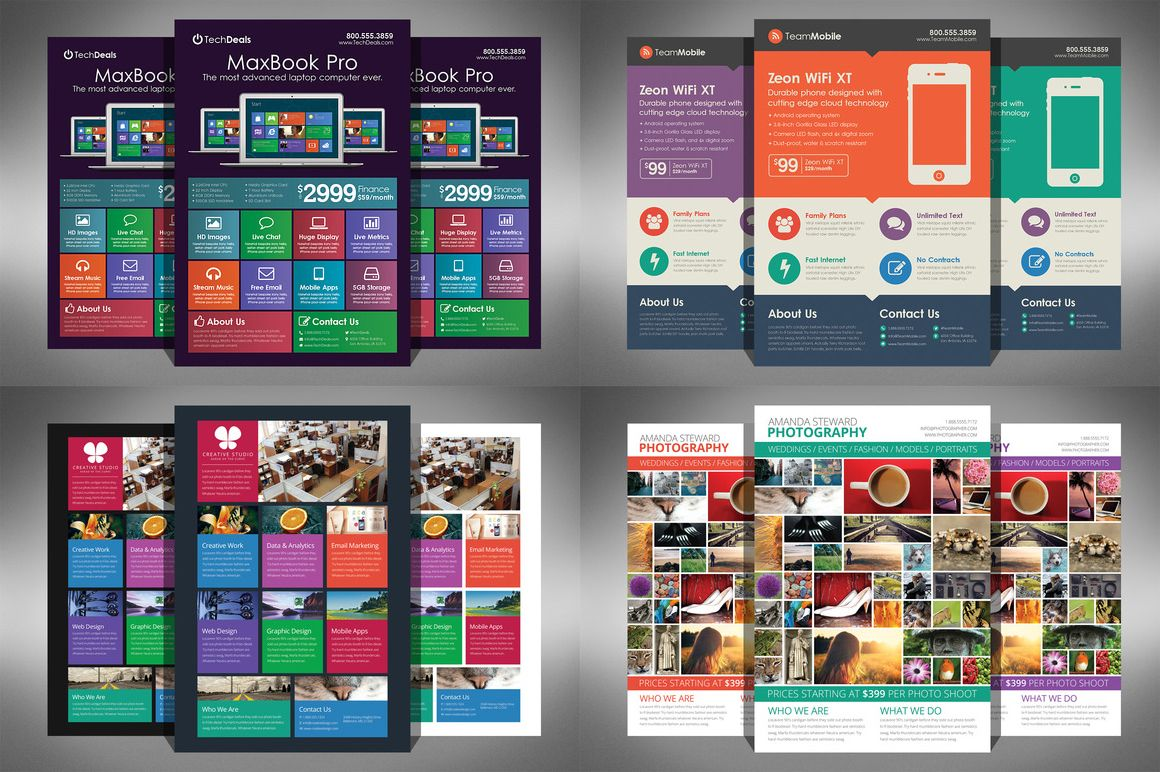 Flat Design Corporate Flyer Bundle by Creativenauts on Creative – Flyers and Brochures Templates