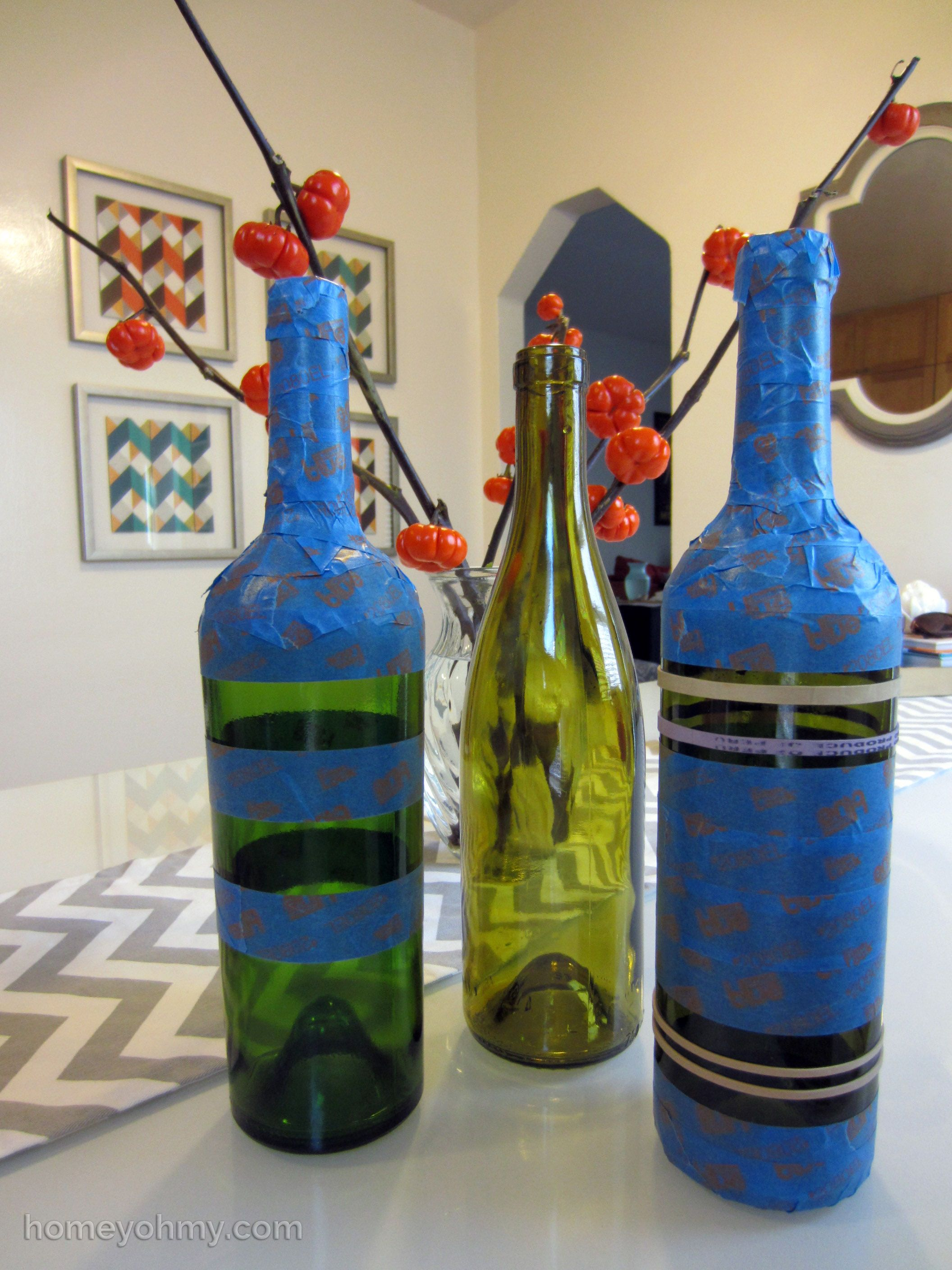 Diy spray painted wine bottles for fall decorating for Spray painting wine glasses