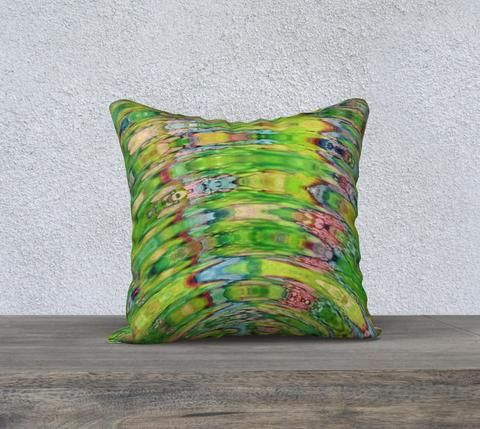 The Ripple Effect II, Lemon Lime - Pillow Cover, Square, 18x18
