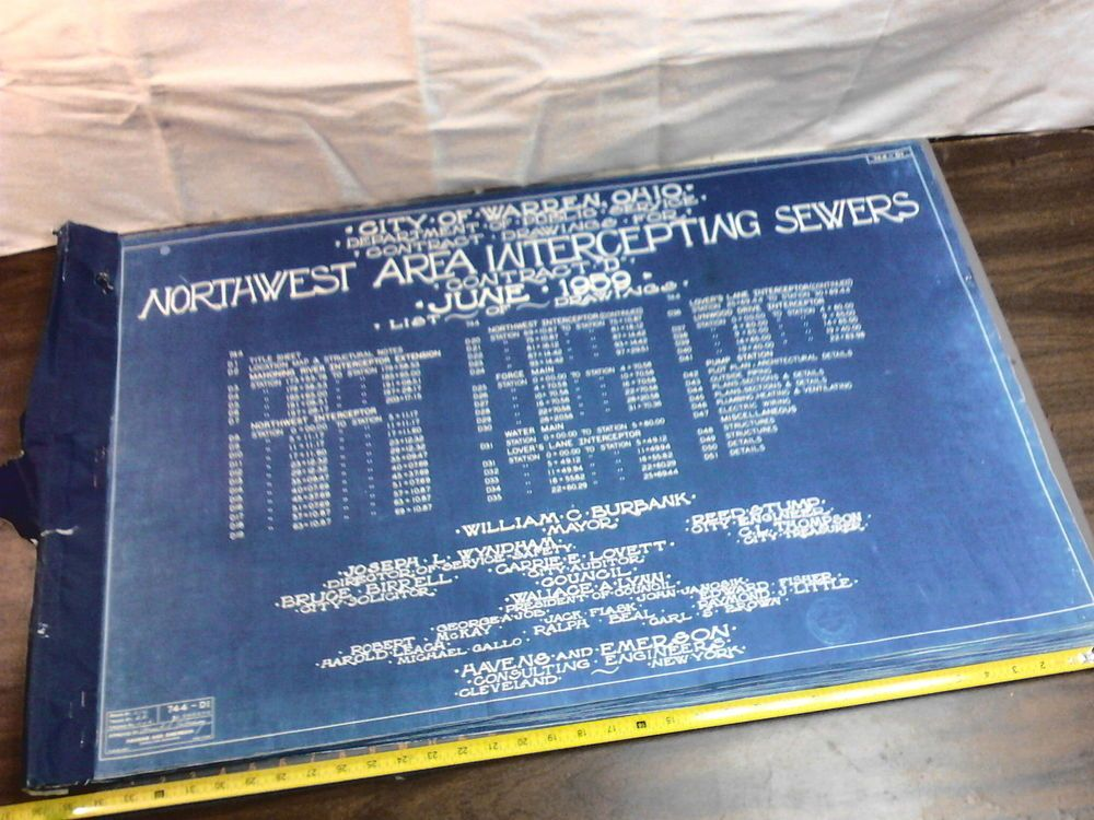 Sold Vintage 1959 Blueprint Nw Area Intercepting Sewer