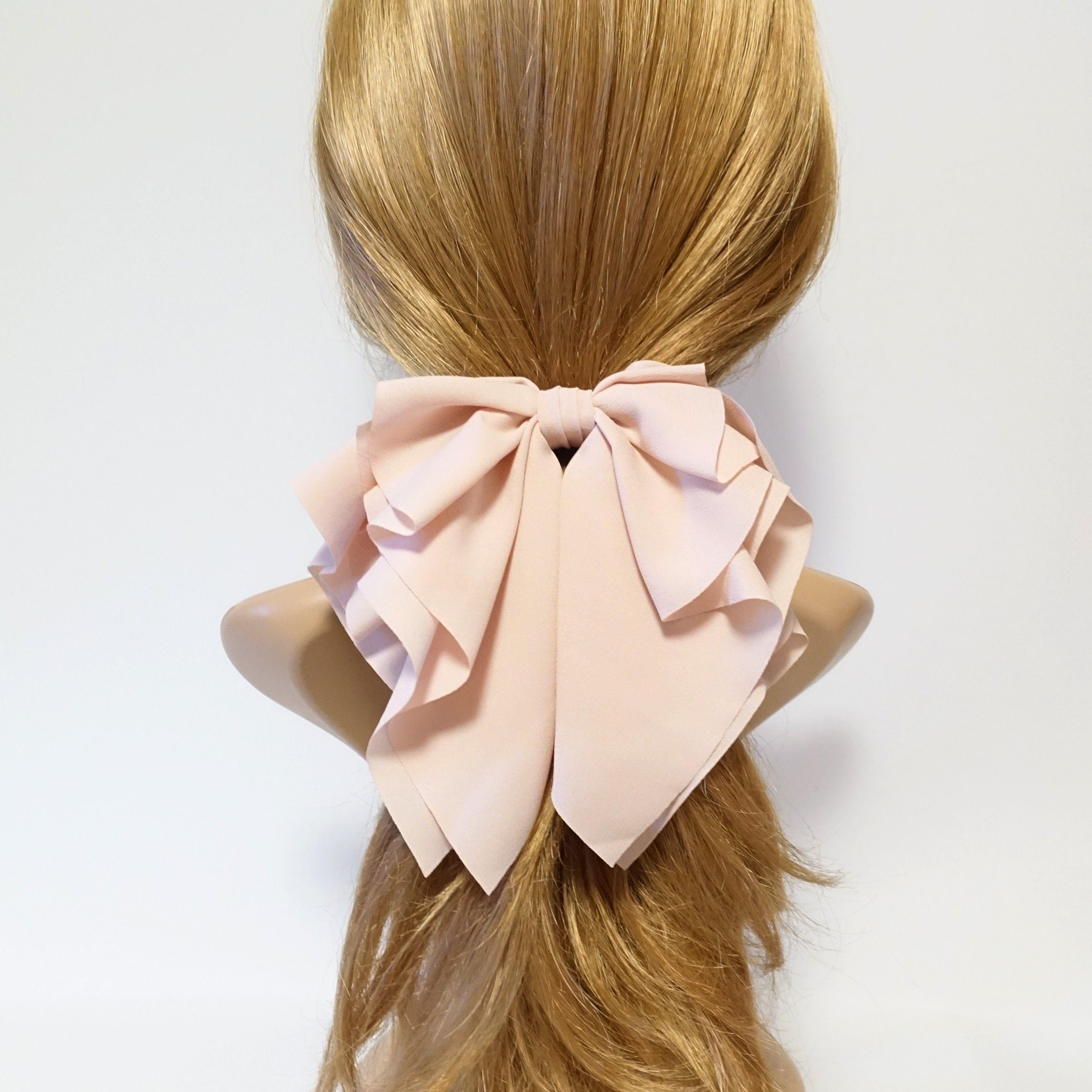 Romance Chiffon Hair Bow French Barrette Drape Falling Ruffle Wave Bow Barrette Hair Bows Hair Accessories For Women French Hair