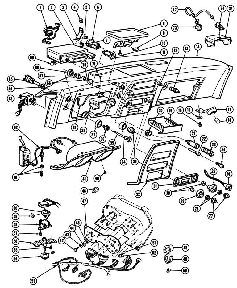 1967 68 Firebird Instrument Panel Exploded View