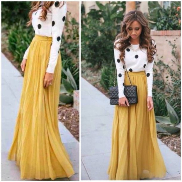 High Waisted Long Skirt Outfits - Dress Ala