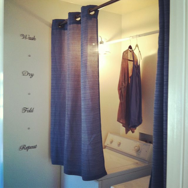 """Curtains Above The Washer And Dryer To Hide My """"hang To"""