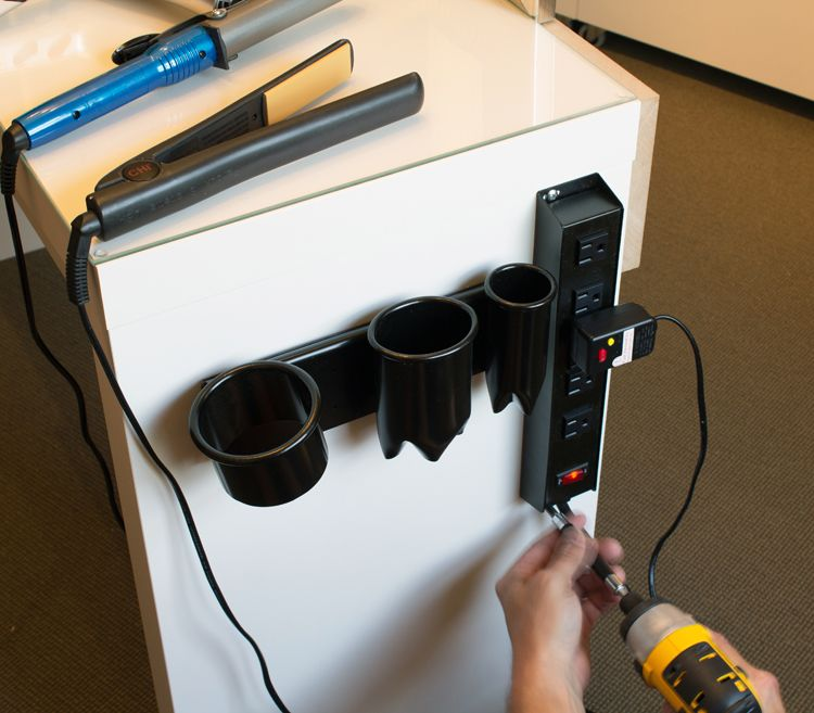hair and makeup vanity table. smart idea screwing a power strip to the side of your makeup desk vanity. include hair appliance caddy on vanity table make it easier not and o