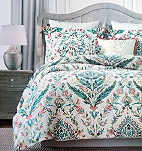 Amazon Com Tahari Floral Folklore Watercolor Duvet Cover 3 Piece