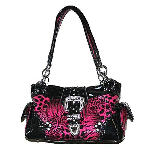 Texas West Leopard Buckle Conceale Carry Womens Handbag Purse In 4 Colors And Coin