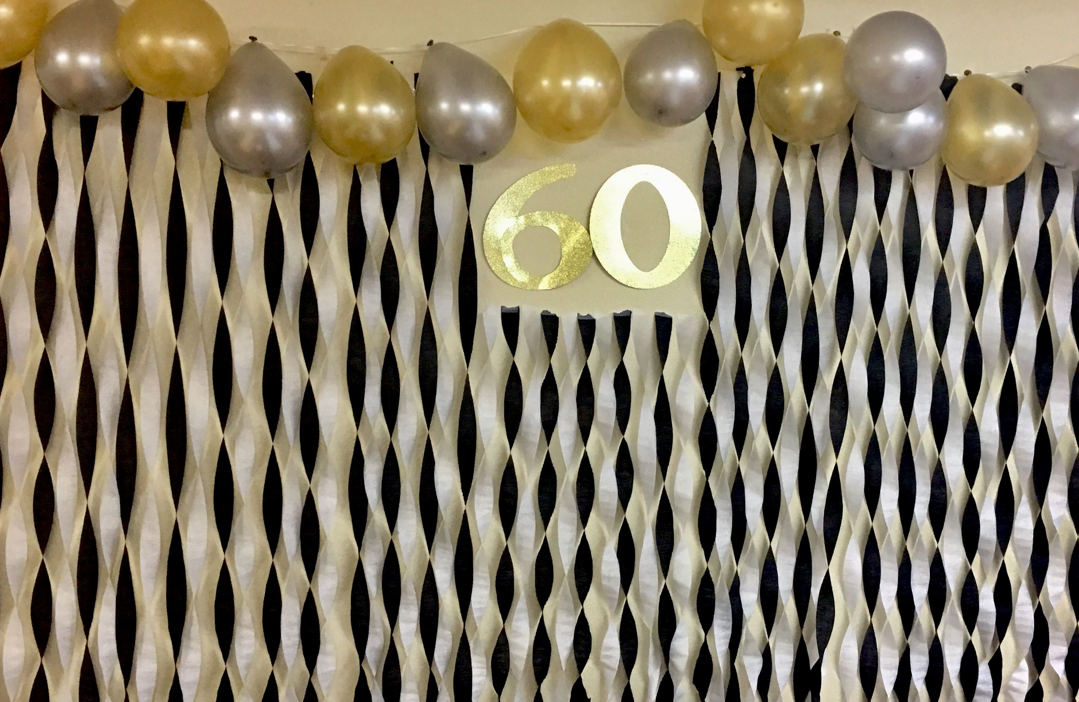 60th Birthday Decoration Gold Silver And Black Balloons